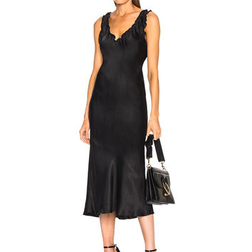 Tibi Ruffle Bias Dress in Black | FWRD