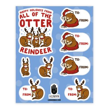HOLIDAY OTTER GIFT TAG STICKER SHEET