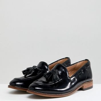 H By Hudson Leather Tassle Flat Shoes at asos.com