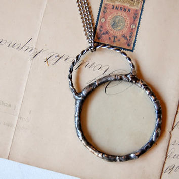 Magnifying glass necklace magnifying glass pendant loupe necklace loupe pendant metalwork necklace gift for grandma handmade