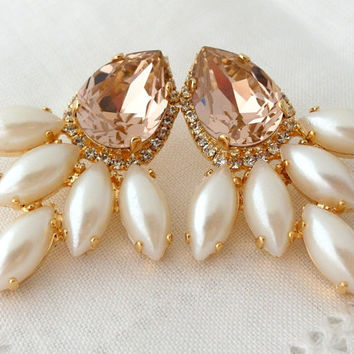 Blush pink and pearls Swarovski chandelier earrings, extra large stud earrings, Bridal earrings, drop earrings, Statement, bridesmaids gift