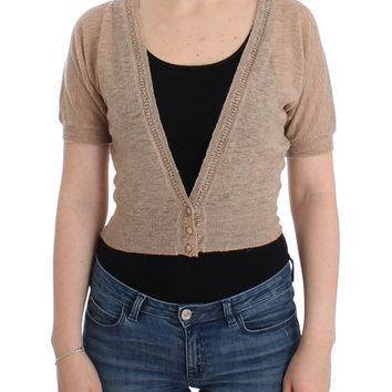 Ermanno Scervino Beige Cropped Cardigan Sweater