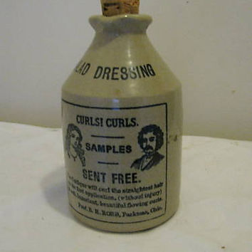 Antique England Crock Salad Dressing Bottle w/ Cork