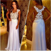 NEW Long Chiffon Formal Lace Party Cocktail Evening Prom Wedding maxi Dress