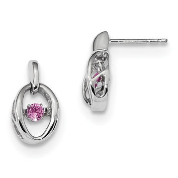 Sterling Silver Rhodium Crted Pink Tourmaline Birthstone Vibrant Earrings QBE32OCT