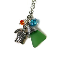 Sea Turtle Jewelry made in Hawaii, Beach Glass Necklace by Mermaid Tears, Hawaiian Honu Necklace, Hawaiian Jewelry, Sea Turtle Necklace