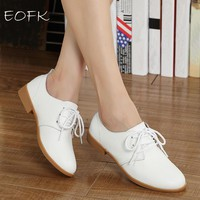 EOFK Leather Oxford Shoes For Women 6 Color Lace Up Blue White Shoes Woman Flats Women