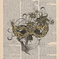 Vintage Collage Skull with a Mask on Upcycle Book Page Print Giclee Art Print Dictionary Print Collage Print