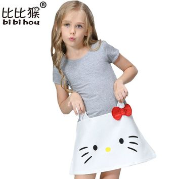 Bibihou Baby Girls Dresses Hello Kitty 2017 Children Dresses For Girls Princess Dress Christmas Kids Clothes Carnival Costume