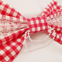 Gingham Hair Bow (Large)