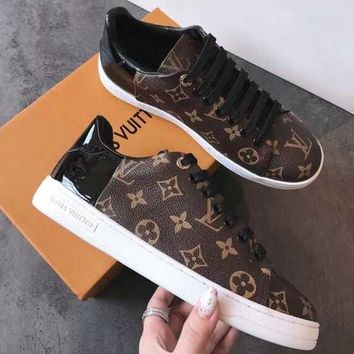 Louis Vuitton LV Fashion Women Print Leather Flats Shoes Sneakers