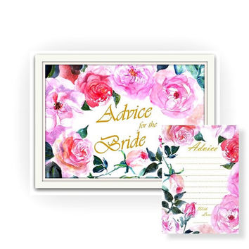 Advice for the bride to be, sign and card,  Pnik fuscia watercolor roses, Printable Weddings, boho chic floral shower Signage, gold cards