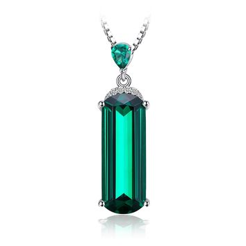 Jewelry Palace Fancy Cut 4.4ct Simulated Green Russian Nano Emerald 925 Sterling Silver Pendant Necklace 18 Inches