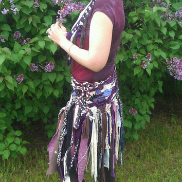 CUSTOM FOR YOU Pixie wrap skirt gypsy skirt handmade upcycled ooak scrap fabric tattered hippie festival