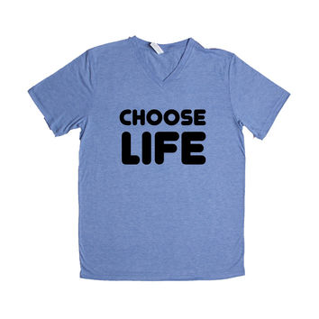 Choose Life Song Songs Reference Verse Wham Musician Bands Band Music Concert Concerts SGAL10 Unisex V Neck Shirt