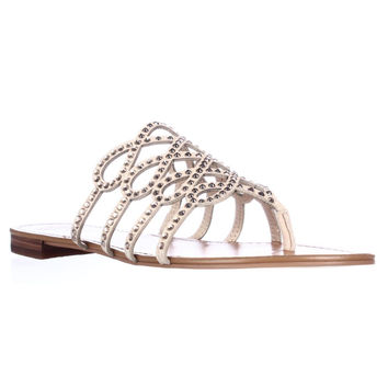 Vince Camuto Millia Rhinestone Strappy Flat Sandals - Petal