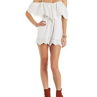 RE:NAMED OFF-THE-SHOULDER RUFFLE ROMPER
