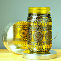 Hand Painted Mason Jar Lantern, Goldenrod Tinted Glass with Black Accents