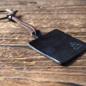 Cutting Board Leather Keychain #Black