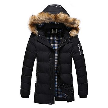 Winter Mens Thick Warm Down Jackets Faux Fur Hooded Down Coats 3XL Plus Size Causal Male Parka Masculina Brand Clothing 2017
