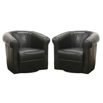 Baxton Studio Julian Black Brown Faux Leather Club Chair with 360 Degree Swivel Set of 1