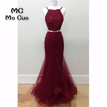 Two Pieces Gown 2018 Burgundy Prom dresses Long with Appliques Beaded Tulle dress for graduation Formal Evening Prom Dress