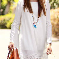 White Crochet Lace Long Sleeve Dress