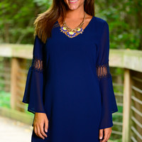 Elegant A-flare Dress, Navy