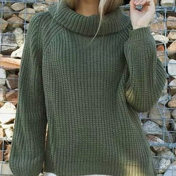 Casual Turtleneck Loose-Fitting Long Sleeve Slit Sweater For Women