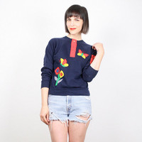 Vintage70s Sweatshirt Navy Blue Sweater Patchwork Calico Liberty Floral Print Butterfly Primary Colors Jumper Hippie Butterflies S Small M