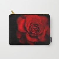 Rose-Red Rose-Photography-Black&Red-Still Life Carry-All Pouch by Jaylin F.
