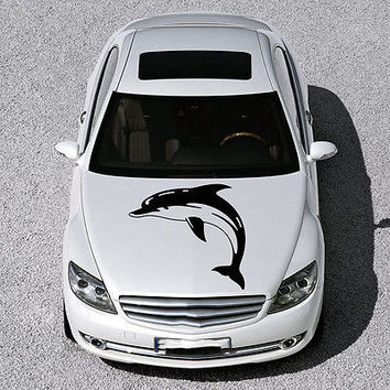 ANIMAL DOLPHIN CUTE FISH DESIGN HOOD CAR VINYL STICKER DECALS ART MURAL SV1574