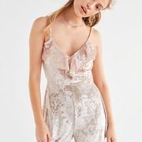 UO Crushed Velvet Ruffle Romper | Urban Outfitters