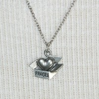 "Silver ""fragile heart"" necklace"