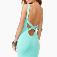 Crossed Out Dress - Mint