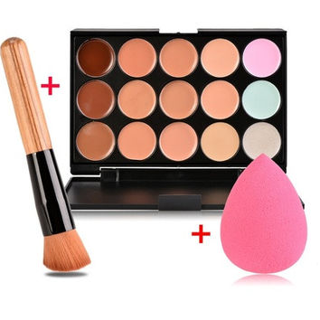 15 Color Concealer Palette + Wooden Handle Brush + Cosmetic Puff Base Foundation Concealers Face Powder Makeup Tools [8096799303]