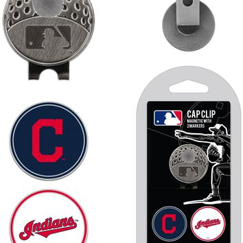 MLB Cleveland Indians Hat Clip & 2 Magnetic Golf Ball Markers