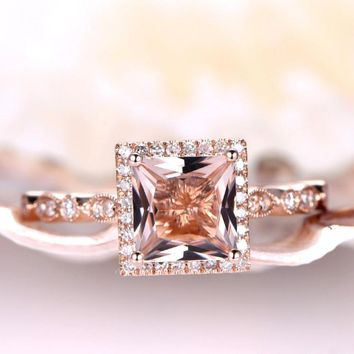 Princess Cut Morganite Engagement Ring