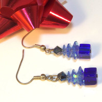 Christmas Tree Earrings Blue