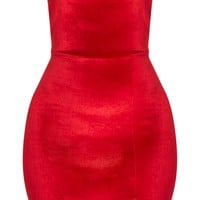 Layala Red Velvet Split Detail Bandeau Dress