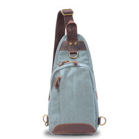 New Slim Canvas Leather Backpack Rucksack Bag Cross body light weight mini small bag