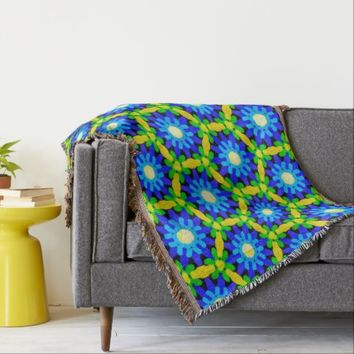 Pretty Blue & Yellow Flower Pattern Throw Blanket