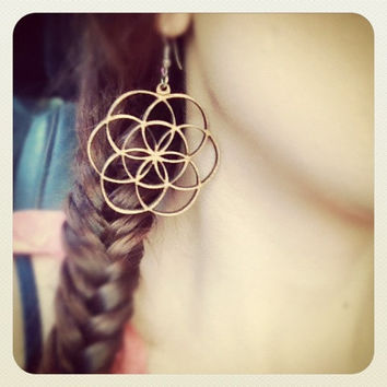 Wood Flower of Life Earrings