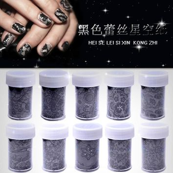 New 1pc 3D Black Lace Nail Art Foil Stickers Flower Nail Decals Tips Manicure Tool