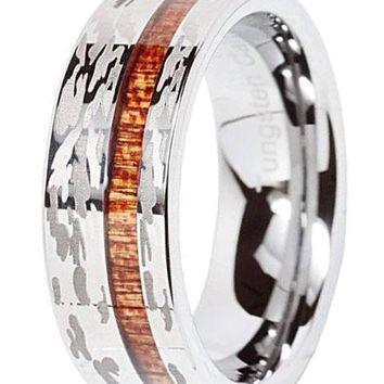 CERTIFIED 10MM Tungsten Ring Camo Army Hunting Wood Inlay Silver Wedding Band