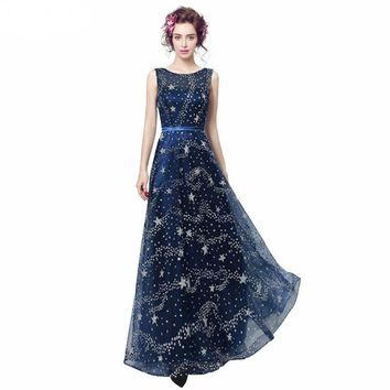 Evening Dress Scoop Neck Evening Dresses Navy Blue Tulle With Sequined Evening Dress
