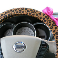 Custom Steering Wheel Cover with Matching Hot Pink Bow