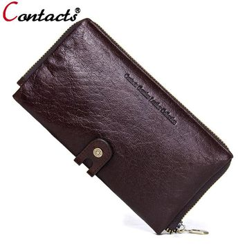 CONTACT'S Men wallets genuine leather wallet men clutch bag coin purse card holder phone men wallet long purse Organizer Walet