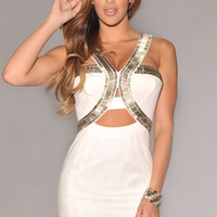 White Strappy Silver Embellished Cutout Bodycon Mini Dress