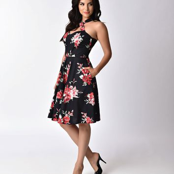 1950s Pin Up Style Black & Red Rose Floral Cross Neck A-line Flare Dress